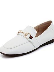 abordables -Femme Chaussures Similicuir Printemps / Automne Confort Mocassins et Chaussons+D6148 Talon Plat Bout carré Boucle Blanc / Noir / Rose