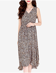 cheap -Women's Basic Chiffon Dress - Leopard Print