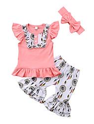 Недорогие -Дети (1-4 лет) Девочки С принтом Пэчворк Без рукавов С короткими рукавами Набор одежды