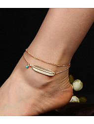 cheap -Turquoise Anklet - Wings Double Layered Gold / Silver For Daily / Women's