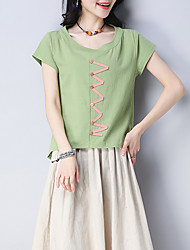 cheap -women's linen t-shirt - geometric round neck