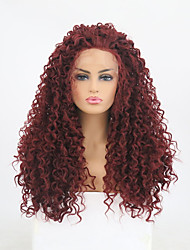 cheap -Synthetic Lace Front Wig Curly Style Free Part Lace Front Wig Burgundy Dark Wine Synthetic Hair 24 inch Women's Adjustable / Heat Resistant / Women Burgundy Wig Long Natural Wigs / Yes