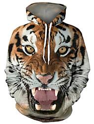 Недорогие -Муж. Классический / преувеличены Большие размеры Свободный силуэт Брюки - 3D / Мультипликация Тигр, С принтом Коричневый / Капюшон / Длинный рукав / Осень