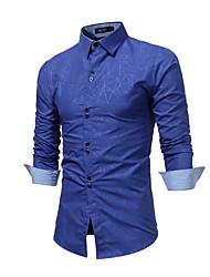 Недорогие -Муж. Рубашка Деловые / Классический Геометрический принт