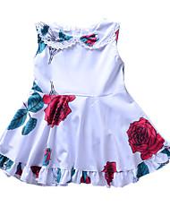 d77dbc55179b Baby Pige Aktiv   Basale Daglig Ensfarvet Trykt mønster Uden ærmer Normal  Normal Over knæet Bomuld Kjole Hvid