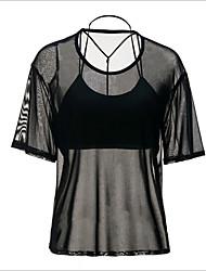 baratos -Mulheres Camiseta - Para Noite Sólido Algodão