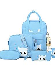 baratos -Mulheres Bolsas Tela de pintura Conjuntos de saco 5 Pcs Purse Set Estampa Azul Escuro / Verde Escuro / Azul Céu
