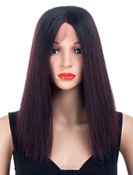 cheap -Synthetic Wig / Synthetic Lace Front Wig Straight Ombre Middle Part Synthetic Hair Synthetic / Best Quality / New Arrival Black / Ombre Wig Women's Short Lace Front / Capless Natural Black / Fashion
