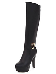 cheap -Women's Shoes PU(Polyurethane) Fall & Winter Fashion Boots Boots Chunky Heel Round Toe Knee High Boots White / Black / Party & Evening