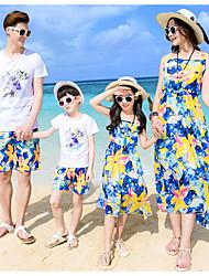 cheap -Kids Family Look Floral Sleeveless / Short Sleeve Clothing Set