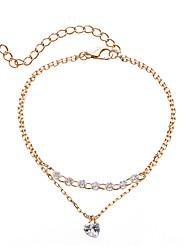 abordables -Femme Cristal Chaînes & Bracelets / Charmes pour Bracelets / Bracelet - Cœur Double couche, Coréen, Doux Bracelet Or Pour Fiançailles / Cadeau / Plein Air