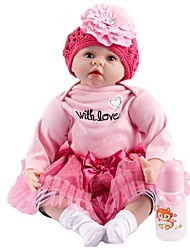 お買い得  -FeelWind リボーンドール 赤ちゃん(女) 22 インチ 生き生きとした, 人工インプラントブルーアイズ 子供 女の子 ギフト
