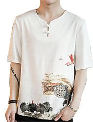 Недорогие -Муж. С принтом Футболка Шинуазери (китайский стиль) Цветочный принт