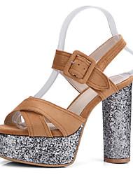 abordables -Femme Chaussures Polyuréthane Printemps été Bride de Cheville Sandales Talon Bottier Bout ouvert Boucle Noir / Beige / Marron / Mariage / Soirée & Evénement