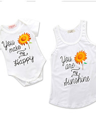 cheap -Toddler Mommy and Me Floral / Geometric Short Sleeve Bodysuit