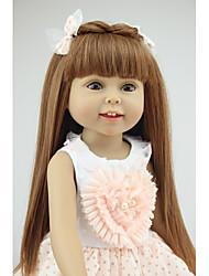 Недорогие -NPKCOLLECTION NPK DOLL Модная кукла Девушка из провинции 18 дюймовый Полный силикон для тела Силикон - Экологичные Подарок Безопасно для детей Non Toxic / Искусственная имплантация Коричневые глаза