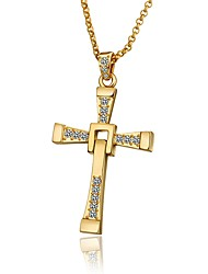 cheap -Men's Cubic Zirconia Pendant Necklace - Gold Plated Cross Fashion Cool Gold, White, Rose Gold 60+5 cm Necklace Jewelry 1pc For Party / Evening, Daily