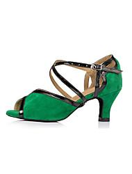 economico -Per donna Scarpe per balli latini Sintetico Sneaker A fantasia Tacco cubano Scarpe da ballo Verde