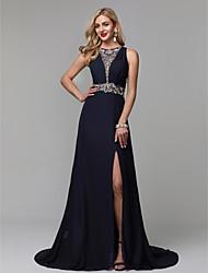 abordables -Corte en A Joya Larga Raso Evento Formal Vestido con Cuentas por TS Couture® / See Through