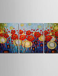 abordables -Pintura al óleo pintada a colgar Pintada a mano - Abstracto / Floral / Botánico Modern Lona