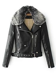 Недорогие -Жен. Кожаные куртки Однотонный Меховая оторочка