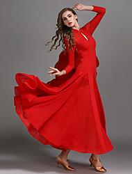 baratos -Dança de Salão Vestidos Mulheres Espetáculo Chiffon / Tule / Seda Sintética Pregueado / Combinação Alto Vestido