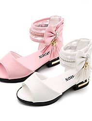 cheap -Girls' Shoes PU(Polyurethane) Summer Comfort / Flower Girl Shoes Sandals Walking Shoes Bowknot / Tassel / Magic Tape for Kids White / Pink