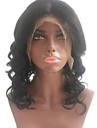 Недорогие -Не подвергавшиеся окрашиванию Лента спереди Парик Перуанские волосы Волнистый Черный Парик Стрижка каскад Средняя часть 130% Плотность волос с детскими волосами Для темнокожих женщин Черный Жен.