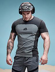 preiswerte -Herrn Einfarbig - Aktiv / Grundlegend T-shirt Patchwork Schwarzgrau