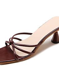 baratos -Mulheres Sapatos Couro Ecológico Verão Chanel Sandálias Salto Carretel Branco / Preto / Vinho