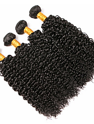 cheap -4 Bundles Peruvian Hair Curly Human Hair Natural Color Hair Weaves / Hair Bulk / Costume Accessories / Extension 8-28 inch Black Natural Color Human Hair Weaves Machine Made Soft / Woven / Natural