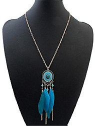cheap -Women's Long Pendant Necklace - Resin Feather Stylish, Vintage, Ethnic Blue, Light Blue, Black / White 70 cm Necklace Jewelry 1pc For Daily, Date