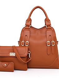 baratos -Mulheres Bolsas PU Conjuntos de saco 3 Pcs Purse Set Botões Rosa / Cinzento / Marron