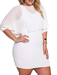 cheap -Women's Plus Size Going out Basic Lantern Sleeve Cotton Slim Bodycon Dress - Solid Colored Mesh High Waist / Summer