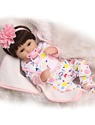 Недорогие -NPKCOLLECTION Куклы реборн Девочки 18 дюймовый Силикон - Искусственная имплантация Коричневые глаза Детские Девочки Игрушки Подарок