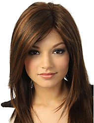 cheap -Synthetic Wig Straight Side Part / With Bangs Synthetic Hair Highlighted / Balayage Hair Brown Wig Women's Medium Length Capless