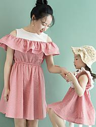 abordables -Maman et moi Tartan Sans Manches Robe