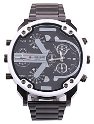 cheap -SHI WEI BAO Men's Sport Watch / Military Watch Chinese Calendar / date / day / Compass / Dual Time Zones Stainless Steel Band Casual / Fashion Black / Large Dial / SSUO 377