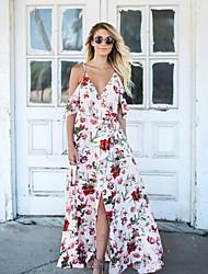 baratos -Mulheres Camiseta Vestido - Fenda / Estampado, Floral Longo / Assimétrico