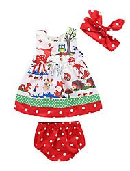 abordables -bébé Fille Actif Noël / Quotidien Imprimé Sans Manches Longue Coton / Polyester Ensemble de Vêtements Rouge