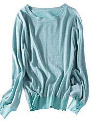 cheap -Women's Long Sleeve Pullover - Solid Colored / Spring
