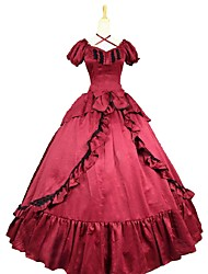 cheap -Rococo / Victorian Costume Women's Dress Red / black Vintage Cosplay Cotton Blend Short Sleeve Puff Sleeve