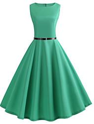 baratos -Mulheres Vintage / Básico balanço Vestido Sólido Altura dos Joelhos