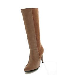 baratos -Mulheres Sapatos Couro Ecológico Outono & inverno Botas de Montaria / Botas da Moda Botas Salto Agulha Dedo Apontado Botas Cano Alto Preto / Amêndoa