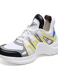 Недорогие -Жен. Обувь Полиуретан Весна лето Удобная обувь Спортивная обувь Для прогулок На плоской подошве Круглый носок Белый / Черный