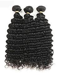 baratos -3 pacotes Cabelo Peruviano Ondulado 100% Remy Hair Weave Bundles Extensões de Cabelo Natural 8-30 polegada Preta Tramas de cabelo humano Parte gratuito Brilhante / Novo Design / 100% Virgem Extensões