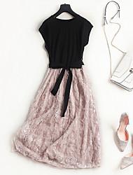 Недорогие -Жен. Скейтер Платье - Контрастных цветов Средней длины