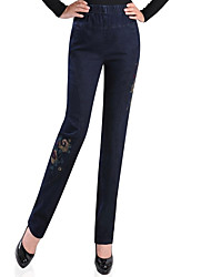 abordables -Mujer Alta cintura Algodón Vaqueros Pantalones - Un Color / Floral Jacquard / Bordado
