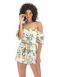 baratos -Mulheres Blusa Boho Estampado, Geométrica / Estampa Colorida Limão