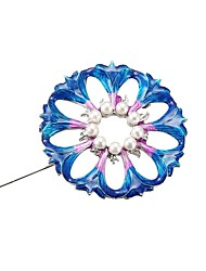 cheap -Women's Sculpture Brooches - Imitation Pearl Flower Stylish, Classic Brooch Blue LED For Daily